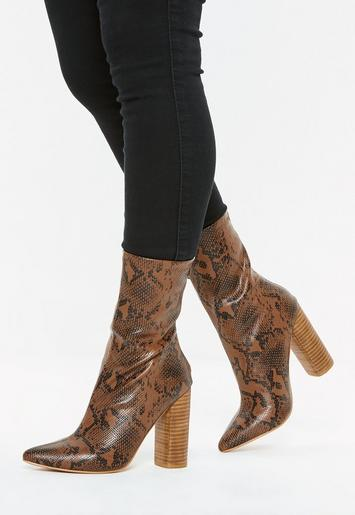 4db52ce28e Tan Snake Print Block Heel Tubular Boots | Missguided