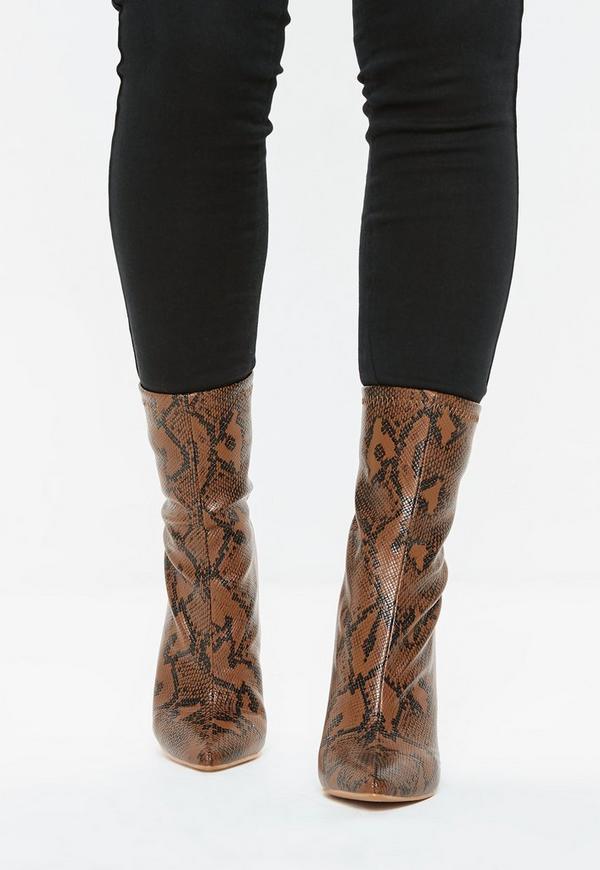 e635c569c32 Tan Snake Print Block Heel Tubular Boots. Previous Next