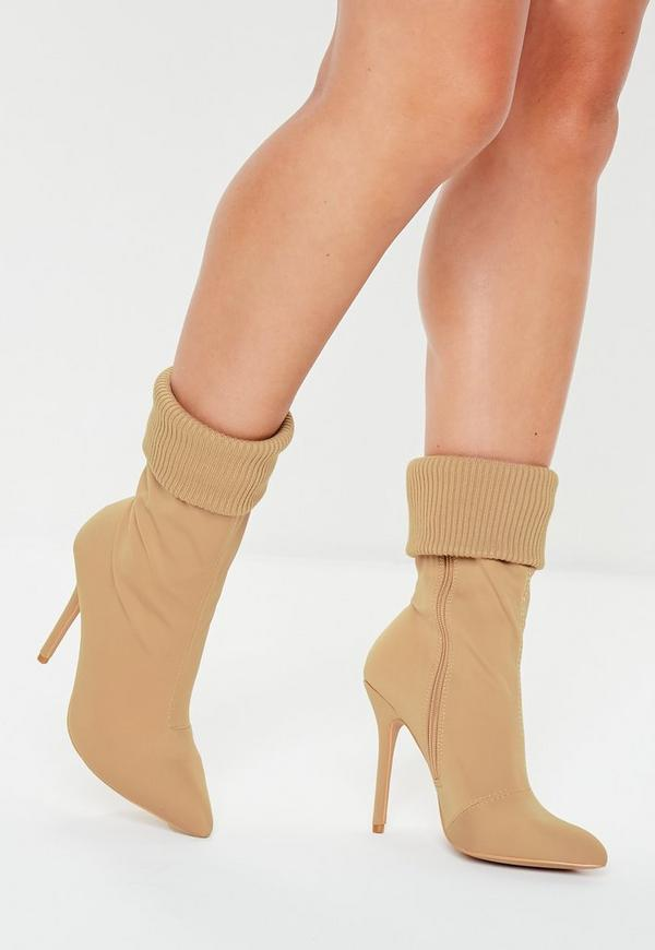 Nude Knitted Pointed Ankle Boots by Missguided