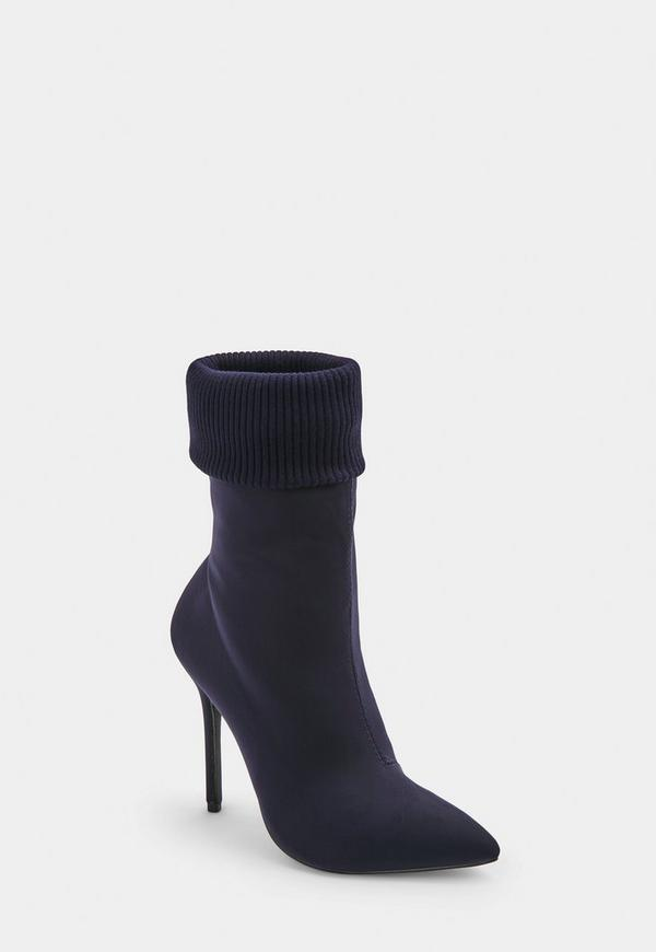 Blue Knitted Pointed Ankle Boots by Missguided