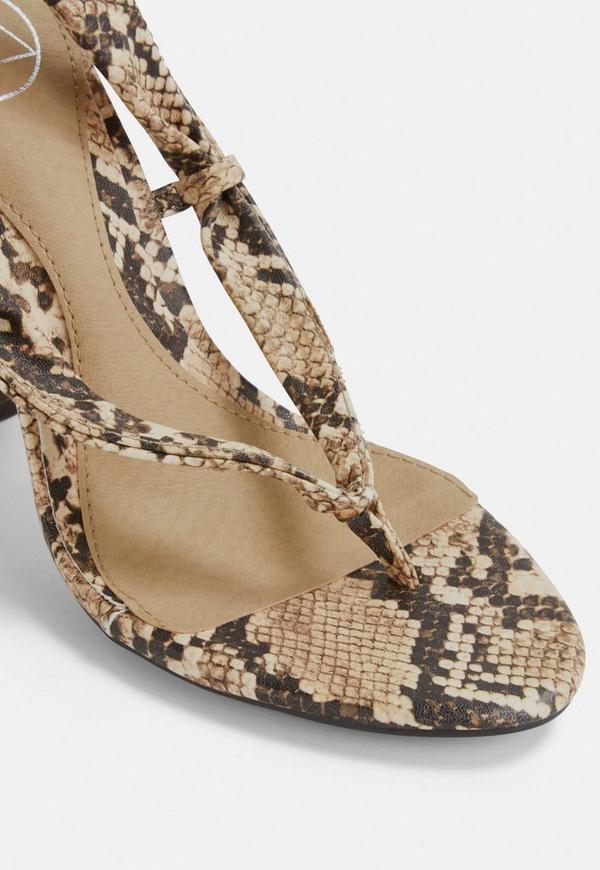 b7ad2ef17d7 ... Nude Snake Print Wrap Block Heel Sandals. Previous Next