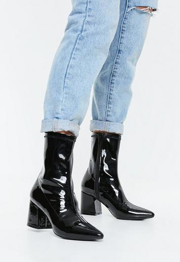 Black Patent Mid Heel Sock Boots Missguided
