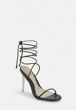 b157f5e205e ... Black Skinny Strap Wrap Sandal Heels