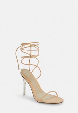 90e3435110f Mauve Satin Court Shoes · Nude Skinny Strap Wrap Sandal Heels