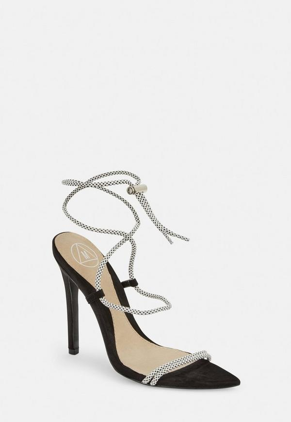 67434576213 ... White Rope Pointed Toe Heeled Sandals. Previous Next