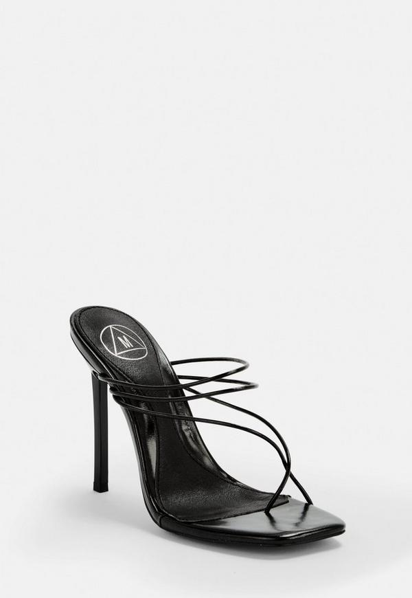 Black Skinny Strap Toe Post Mules by Missguided