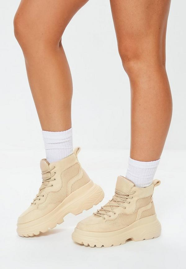 Stone Double Sole Hiking Sneakers by Missguided