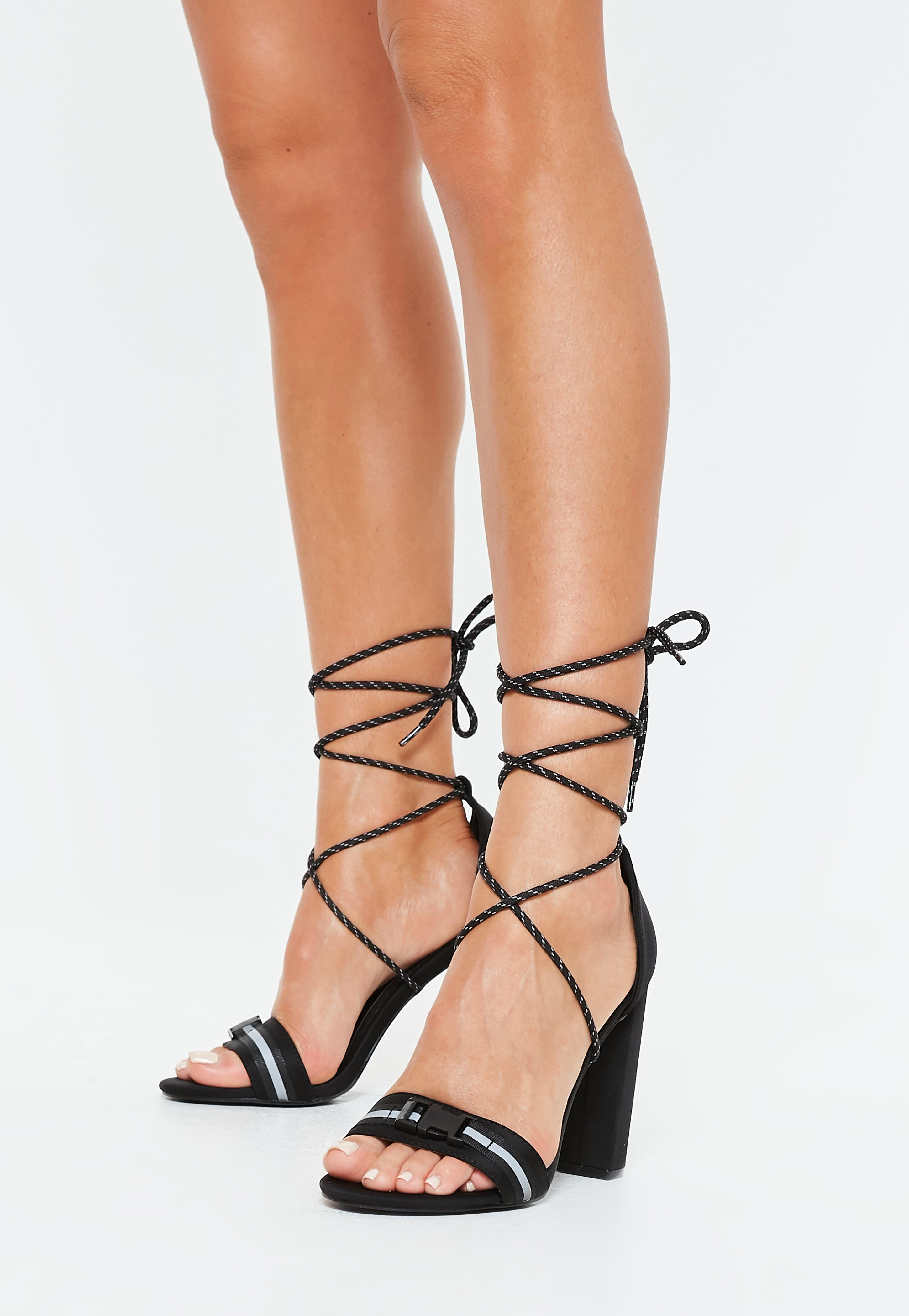 5a58688a822 Black Reflective Strap Block Heel Sandals