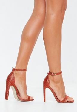 f7822140b6f ... Red Glitter Square Toe Barely There Heels