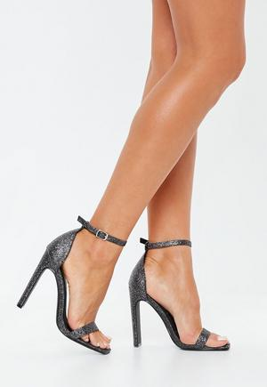 eaee4f6cfd2 £11.00. black glitter square toe barely there heels