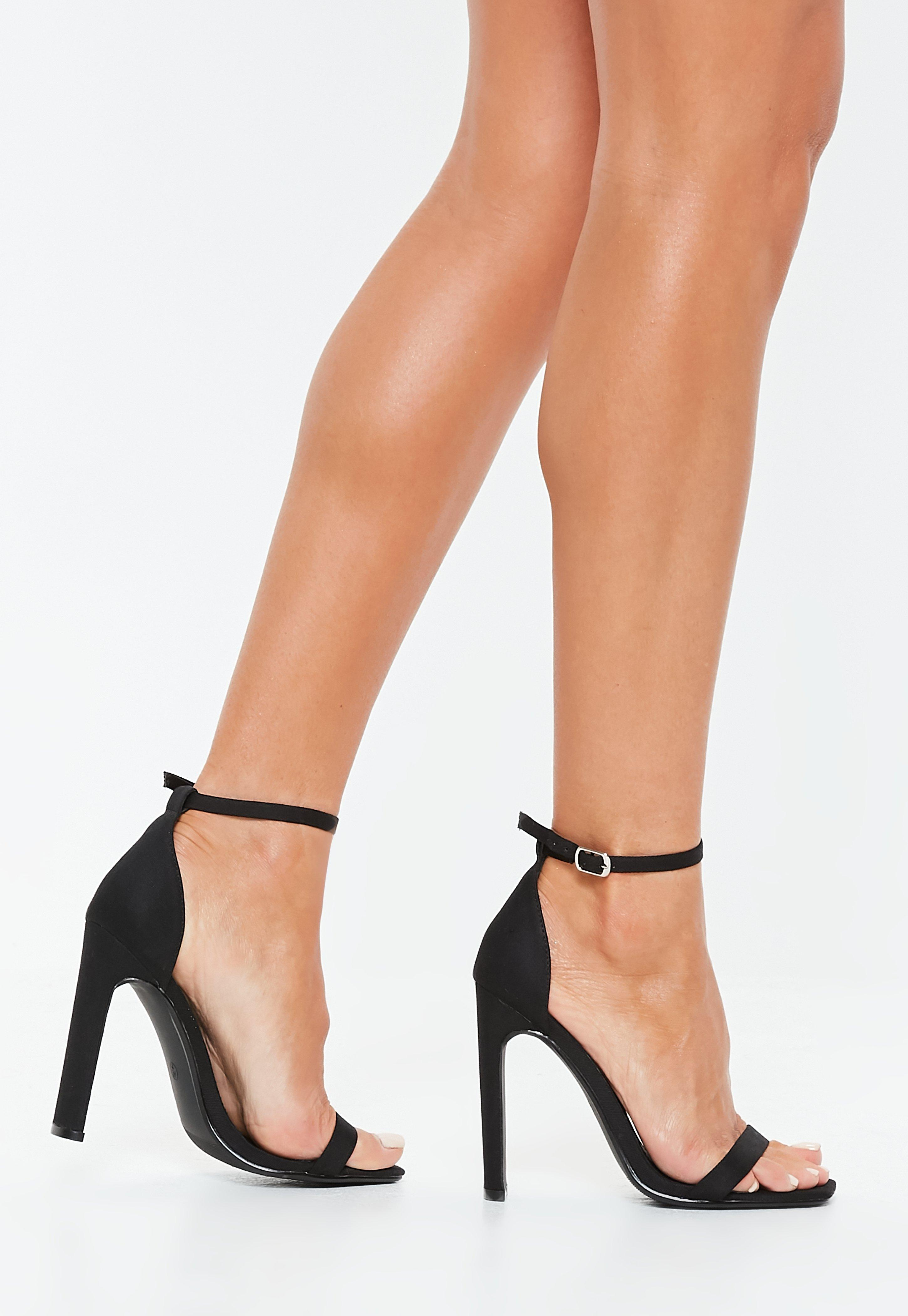 aaef86529141 Black Canvas Square Toe Barely There Heels