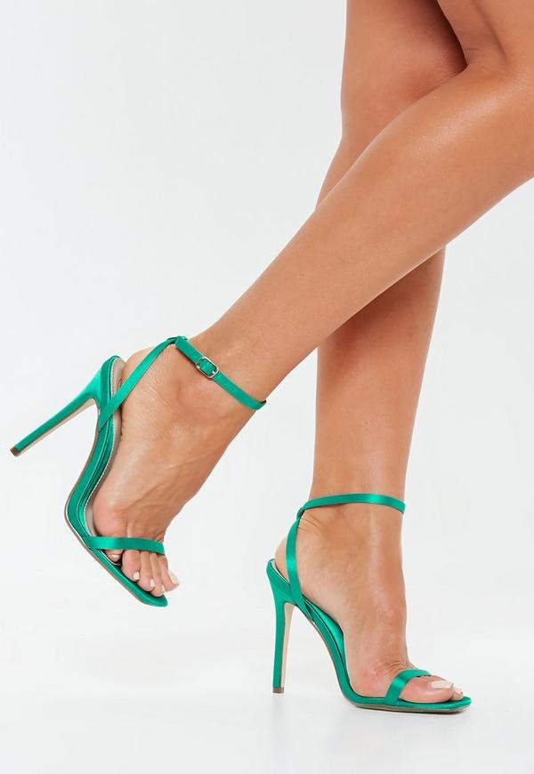 Teal Satin Barely There Heels  4173fa788bb2