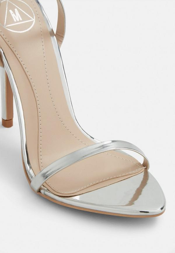 3b49bd1ce43 Silver Pointed Toe Barely There Heels. Previous Next