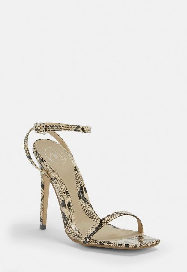 c95613ebfb09 Grey Snake Print Barely There Heels