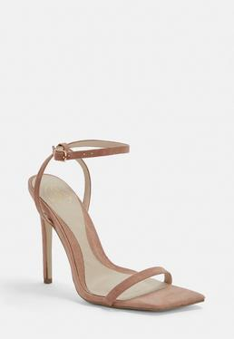 7de6e8bd356 ... Taupe Slanted Toe Barely There Heels