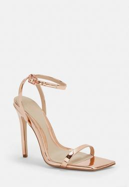ae5ca070f482 ... Rose Gold Slanted Toe Barely There Heels