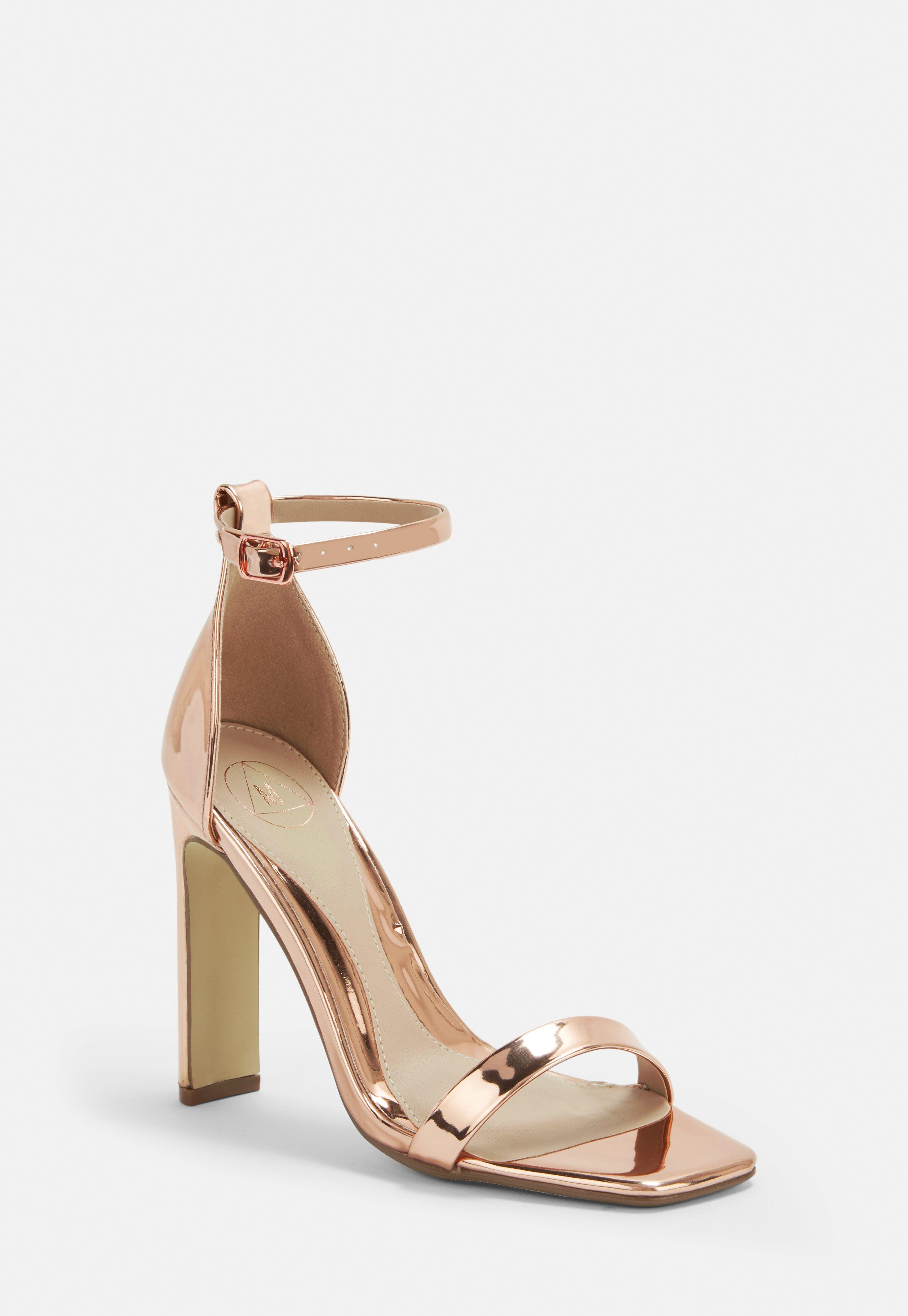 399dfff2e77 Rose Gold Wide Fit Barely There Heels