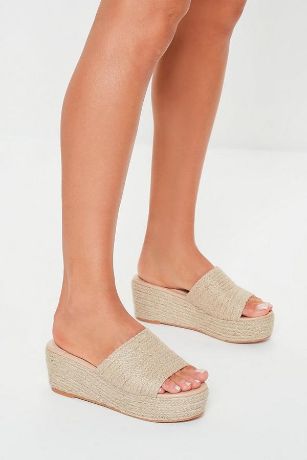 Camel Jute Flatform Sandals by Missguided