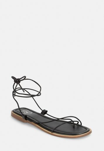 Black Skinny Strap Flat Sandals Missguided