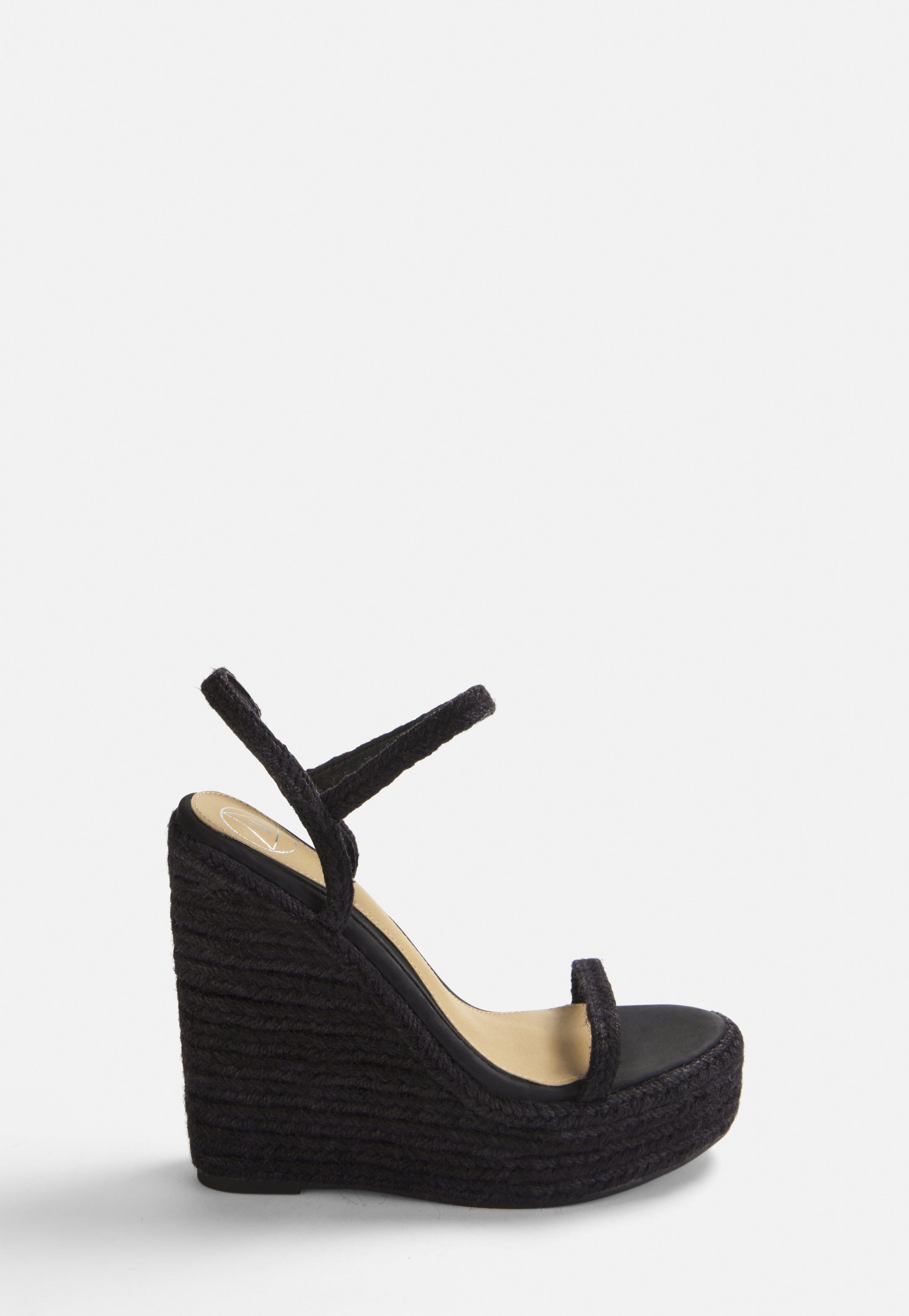Corde En Compensées Noires Sandales Sandales nOkNZ8Xw0P