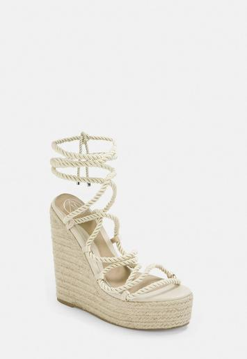Beige Rope Lace Jute Wedges by Missguided