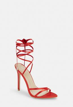 89570d44228 ... Red Satin Lace Up Heeled Sandals