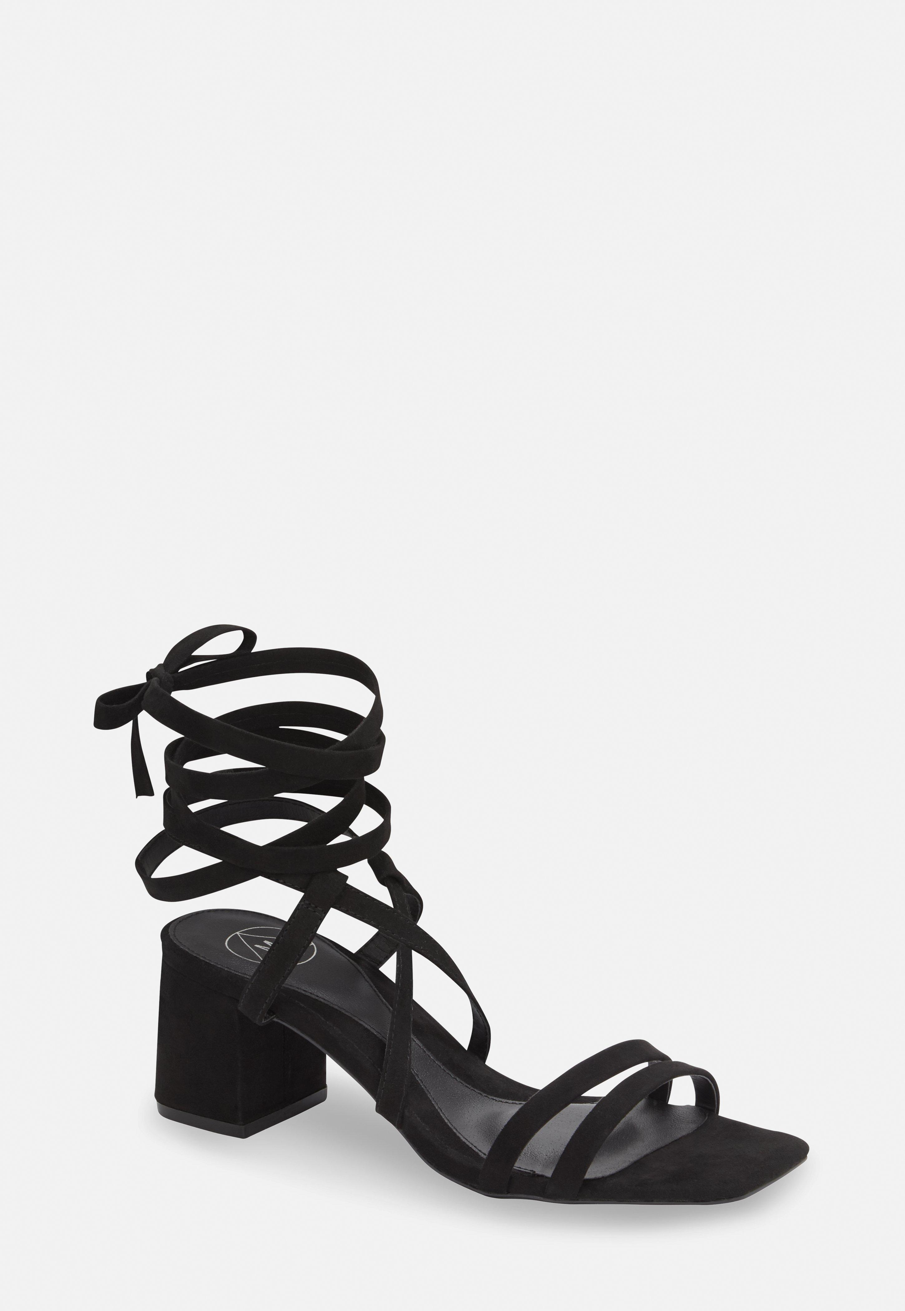 Black Two Strap Lace Up Mid Heel Sandals by Missguided