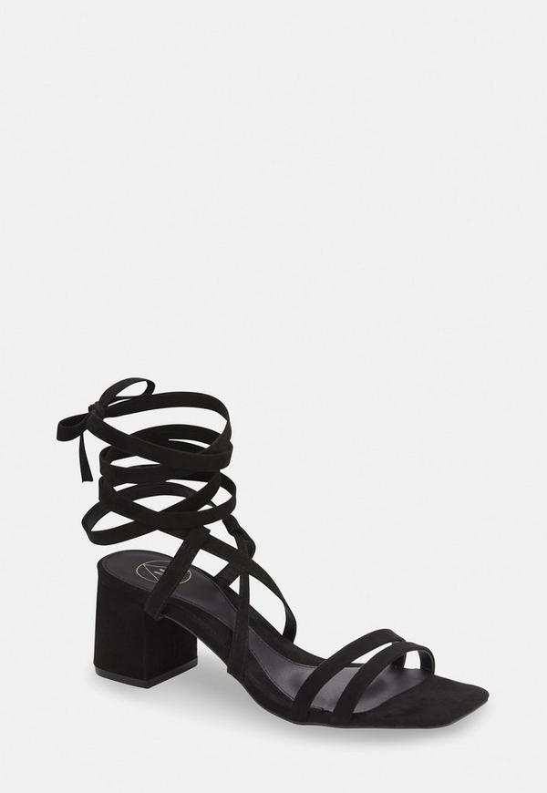 1e90349ab18 ... Black Two Strap Lace Up Mid Heel Sandals. Previous Next