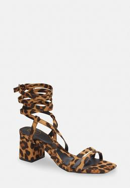 c970aa10ab1 ... Brown Leopard Two Strap Lace Up Mid Heel Sandals