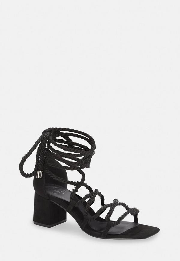 e80420a4dc4a Black Rope Lace Up Mid Heeled Sandals