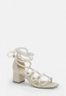 a9490c697 Black Studded Gladiator Sandals · White Rope Lace Up Mid Heeled Sandals