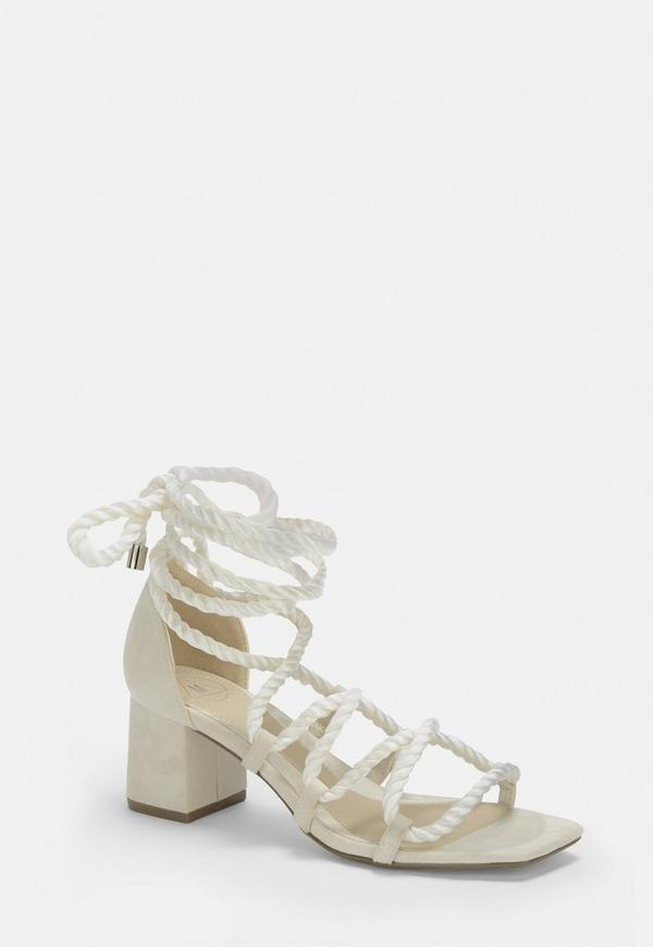White Rope Lace Up Mid Heeled Sandals by Missguided
