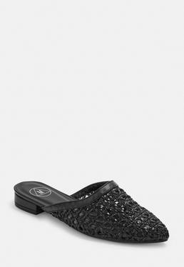 Черные плетеные лоферы