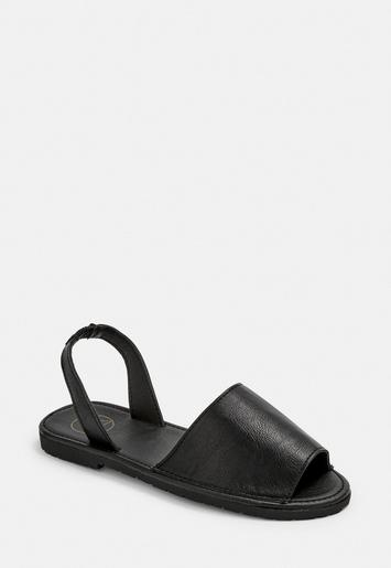 Black Sling Back Sandals by Missguided