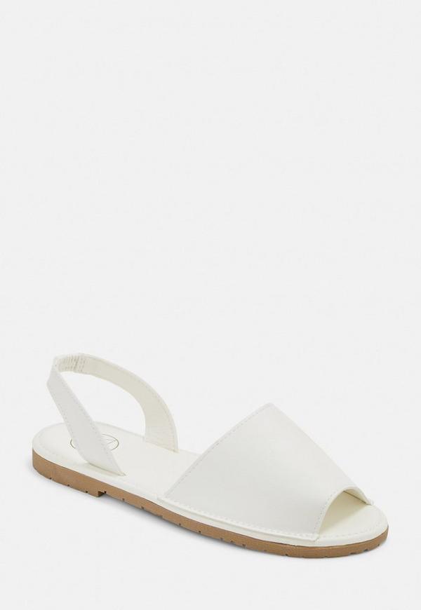 fd689e320bd2 White Two Part Slingback Sandals