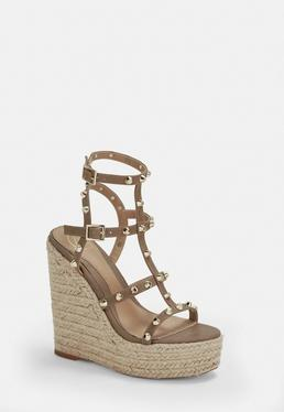 b08d54c2e91 Taupe Dome Stud Wedges