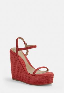 f1c5031a3fd Red Two Strap Jute Wedges