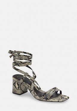 5eba1313c0cf ... Gray Snake Two Strap Lace Up Mid Heel Sandals