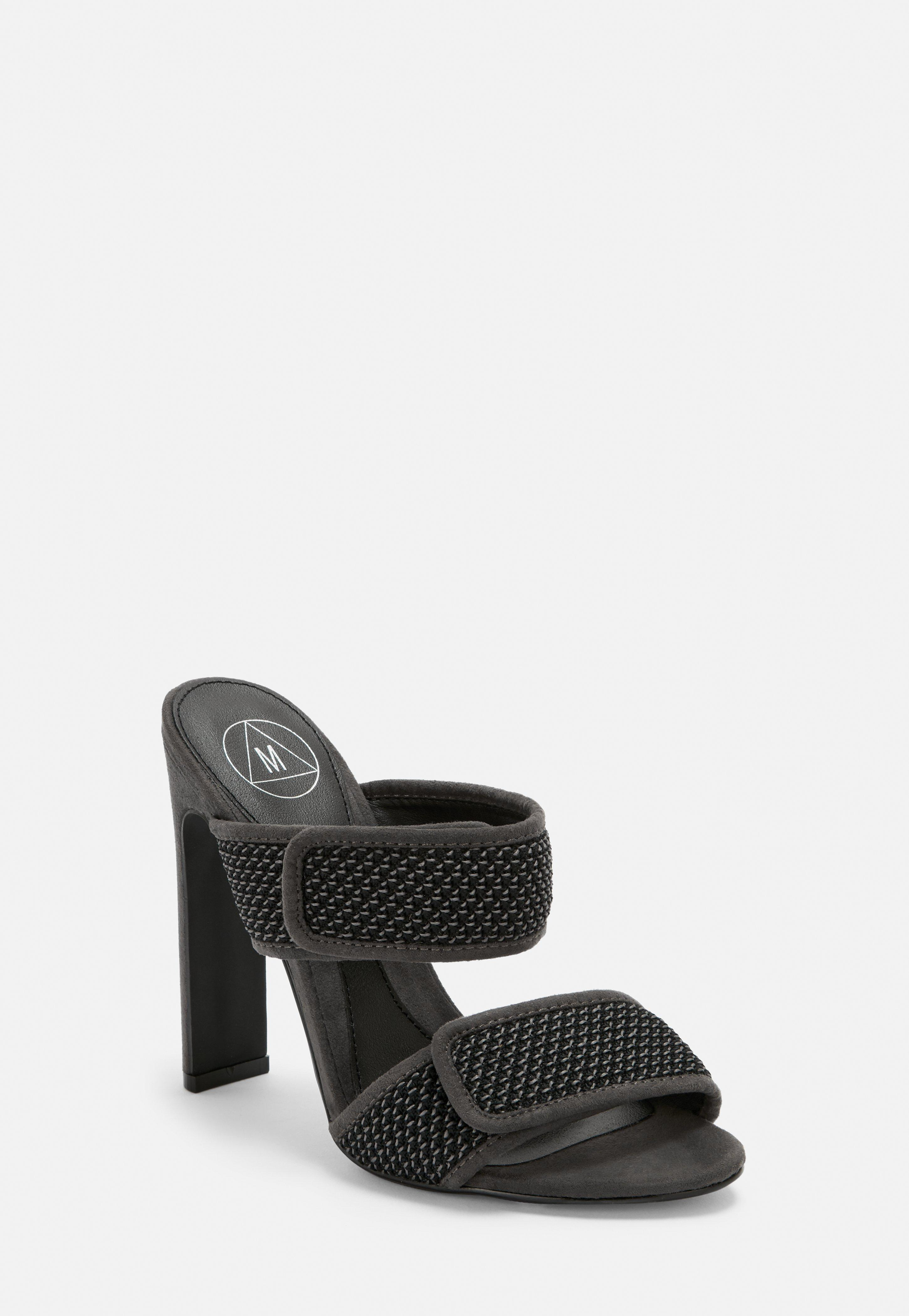 6aadfe664cb Grey Double Strap Padded Mules