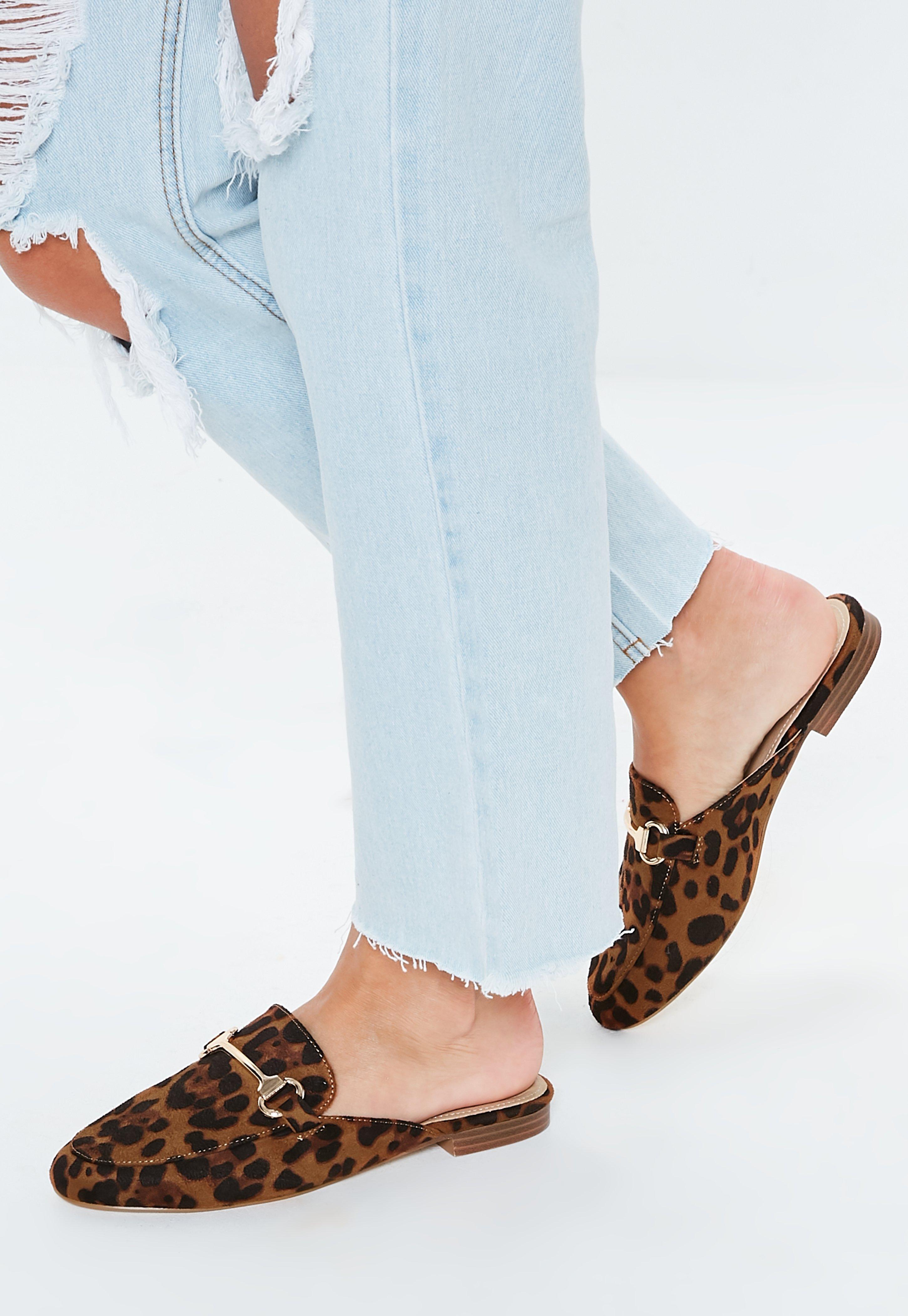 1032945720 Brown Leopard Print Faux Suede Flat Mules