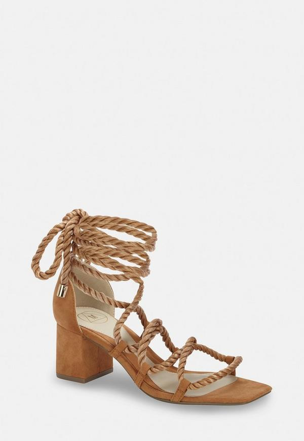 Tan Rope Lace Up Mid Heeled Sandals by Missguided