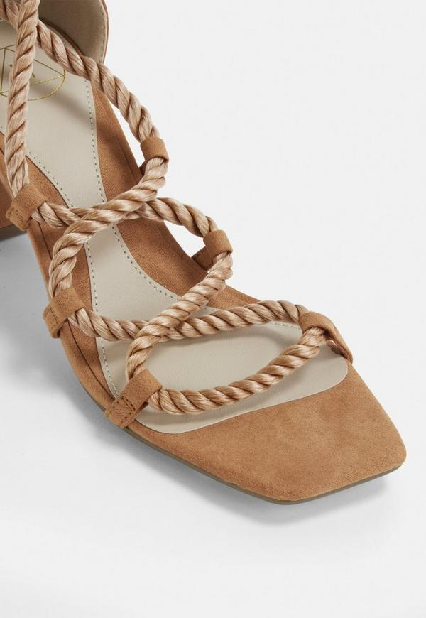 319779c45dab Tan Rope Lace Up Mid Heeled Sandals. Previous Next