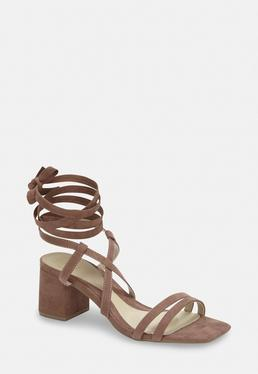0b3f5c55da7 Taupe Two Strap Lace Up Mid Heel Sandals
