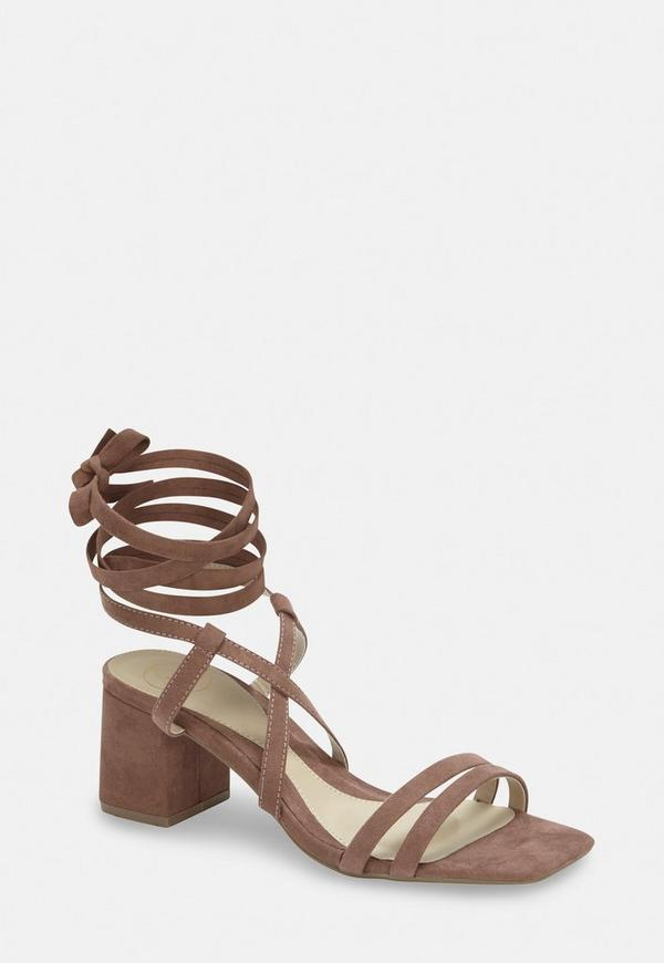 ba381bf8373 Taupe Two Strap Lace Up Mid Heel Sandals