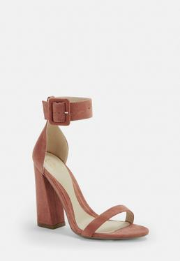 20d847949ba Mauve Satin Court Shoes · Rust Large Buckle Flared Block Heels