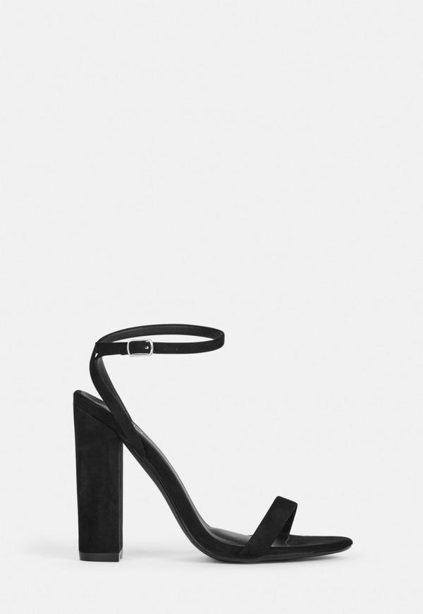 Black Faux Suede Heel Sandals by Missguided