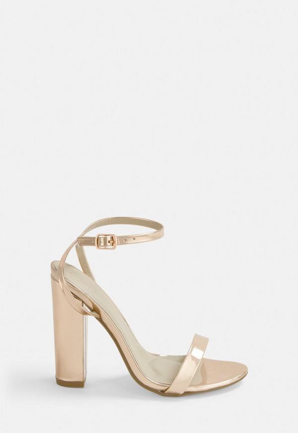 6f1df6fb714 Rose Gold Block Heel Sandals