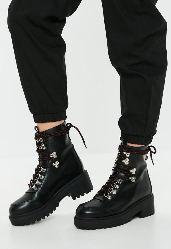 Black Red Contrast Lace Hiking Boots Missguided