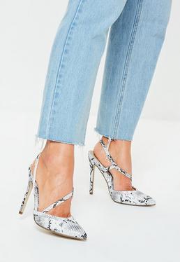 Серые змеиные асимметричные туфли-лодочки