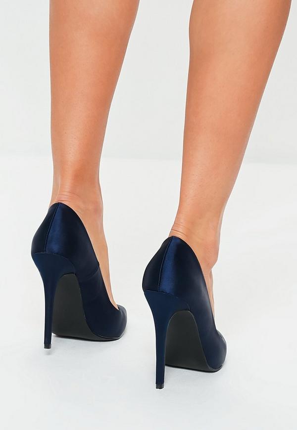 cb850918c04f Navy Satin Court Shoes. Previous Next
